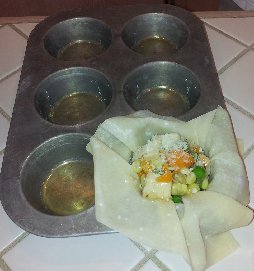 egg roll wrapper with filling