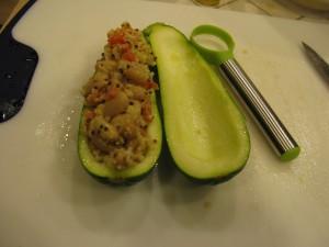 zucchini scooped