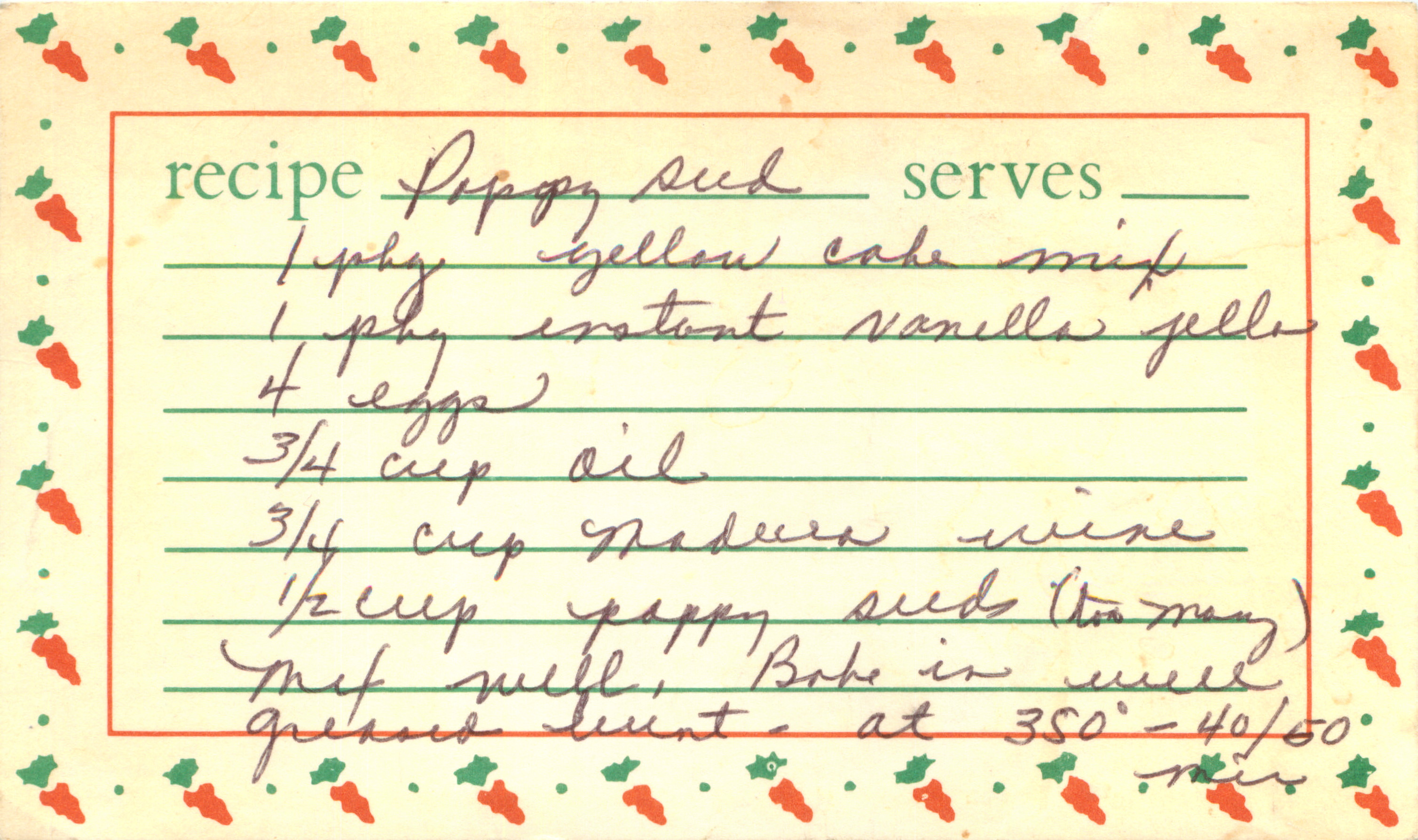 ethel's poppy seed cake recipe card